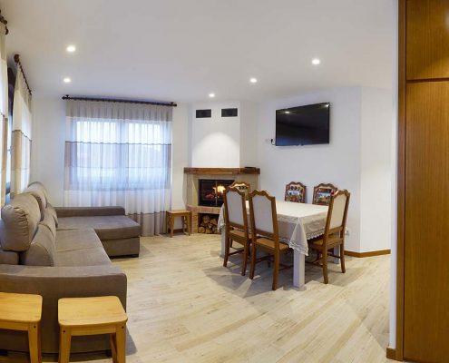Salón con chimenea y televisión de plasma en un ambiente de tranquilidad.